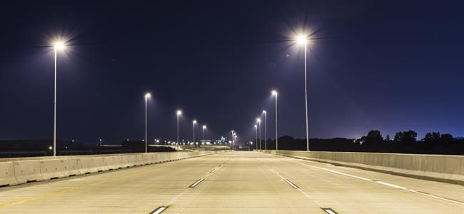 LED street lights on interstate at night